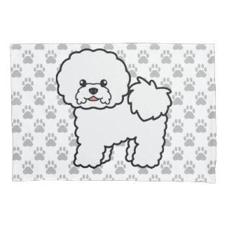Cute Cartoon Bichon Frise Dog With Gray Dog Paws Pillowcase