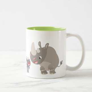 Cute Cartoon Big Rhino and Baby Rhino Two-Tone Coffee Mug