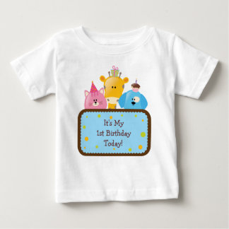Cute Cartoon Birthday Animals Customizable Baby T-Shirt