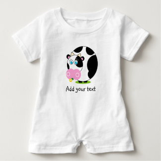 Cute cartoon black and white cow eating a flower, baby romper