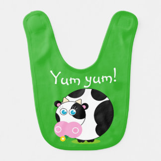 Cute cartoon black and white cow eating a flower, bib
