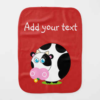 Cute cartoon black and white cow eating a flower, burp cloth