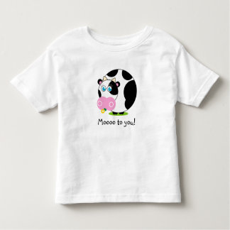 Cute cartoon black and white cow eating a flower, toddler t-shirt
