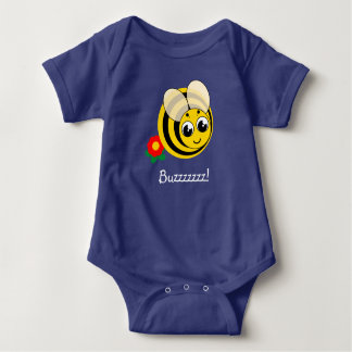 Cute cartoon black and yellow striped bumblebee, baby bodysuit