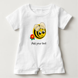 Cute cartoon black and yellow striped bumblebee, baby romper