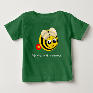 Cute cartoon black and yellow striped bumblebee, baby T-Shirt