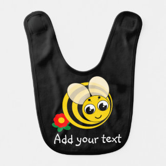 Cute cartoon black and yellow striped bumblebee, bib