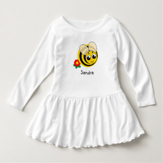 Cute cartoon black and yellow striped bumblebee, dress