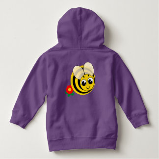 Cute cartoon black and yellow striped bumblebee, hoodie