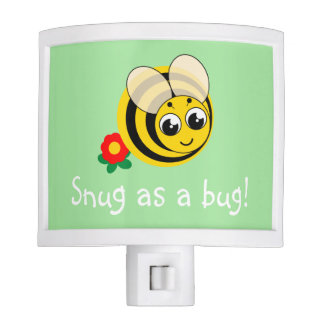 Cute cartoon black and yellow striped bumblebee, nite lite