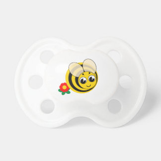 Cute cartoon black and yellow striped bumblebee, pacifier