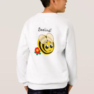 Cute cartoon black and yellow striped bumblebee, sweatshirt