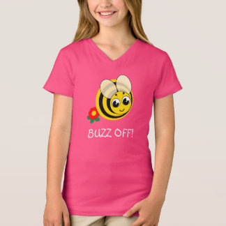 Cute cartoon black and yellow striped bumblebee, T-Shirt