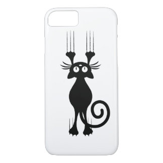 Cute Cartoon Black Cat Scratching iPhone 8/7 Case