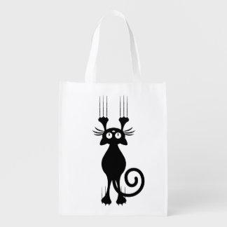Cute Cartoon Black Cat Scratching Reusable Grocery Bags