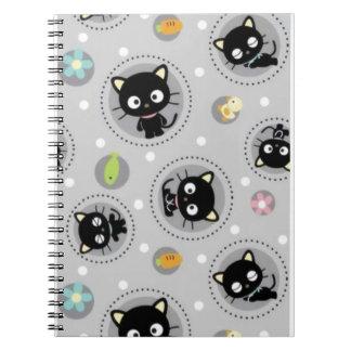 Cute cartoon black cat spiral notebook