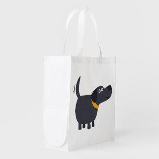 Cute Cartoon Black Labrador Reusable Bag
