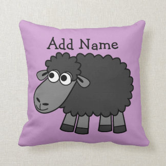 Cute Cartoon Black Sheep with Name Throw Pillow