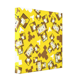 Cute Cartoon Blockimals Giraffe Canvas