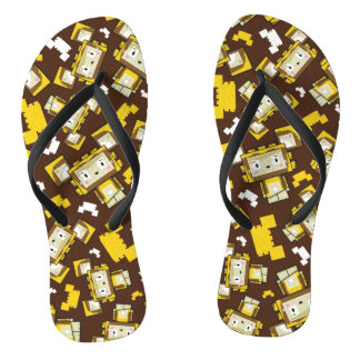 Cute Cartoon Blockimals Lion Flip Flops