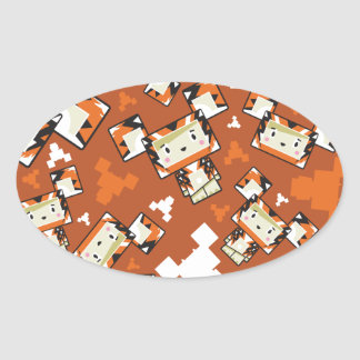 Cute Cartoon Blockimals Tiger Oval Sticker