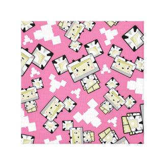 Cute Cartoon Blockimals Zebra Canvas