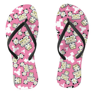 Cute Cartoon Blockimals Zebra Flip Flops