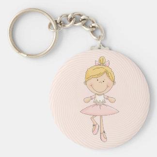 Cute Cartoon Blonde Ballerina Basic Round Button Keychain