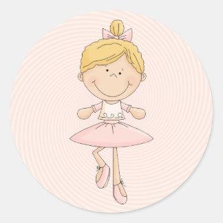 Cute Cartoon Blonde Ballerina Round Sticker