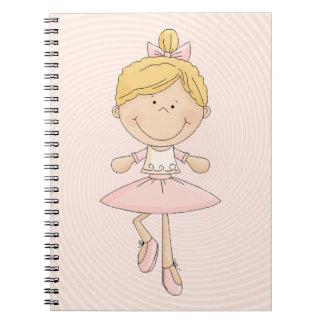 Cute Cartoon Blonde Ballerina Spiral Note Book