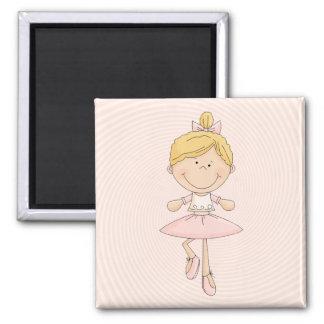 Cute Cartoon Blonde Ballerina Square Magnet