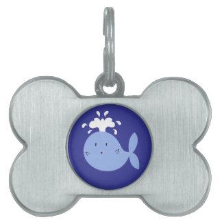 Cute Cartoon Blue Whale Pet ID Tag