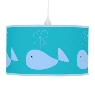 Cute Cartoon Blue Whale Water Spout Kids Boy Pendant Lamp