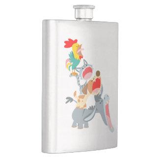 Cute Cartoon Bremen Town Musicians Classic Flask