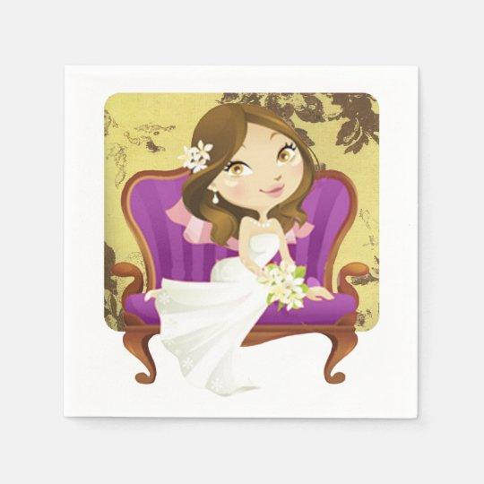 Cute Cartoon Bride Bridal Shower Napkin Disposable Napkins