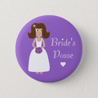 Cute Cartoon Bride's Posse Bachelorette Party 2 Inch Round Button