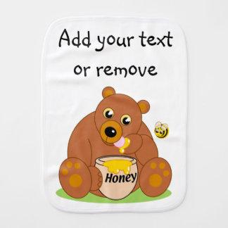 Cute cartoon brown honey bear eating honey, baby burp cloth