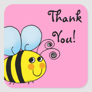Cute cartoon bumble bee thank you square sticker