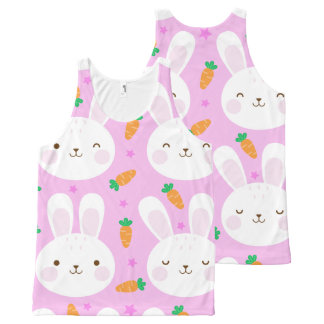 Cute cartoon bunnies and carrots on pink pattern