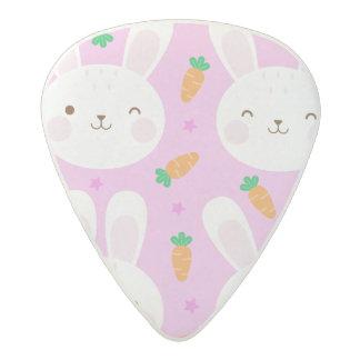 Cute cartoon bunnies and carrots on pink pattern acetal guitar pick