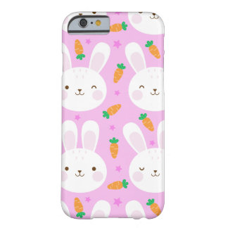 Cute cartoon bunnies and carrots on pink pattern barely there iPhone 6 case