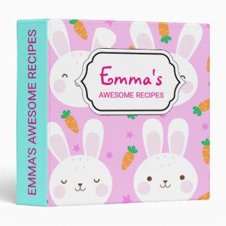 Cute cartoon bunnies and carrots on pink pattern binder