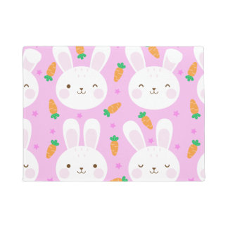 Cute cartoon bunnies and carrots on pink pattern doormat