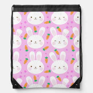 Cute cartoon bunnies and carrots on pink pattern drawstring bag