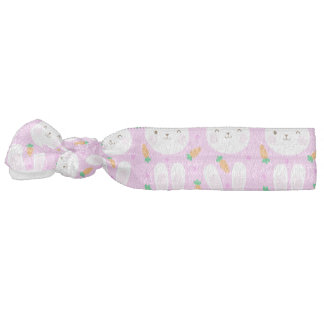 Cute cartoon bunnies and carrots on pink pattern hair tie