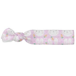 Cute cartoon bunnies and carrots on pink pattern hair ties