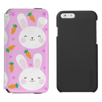 Cute cartoon bunnies and carrots on pink pattern incipio watson™ iPhone 6 wallet case