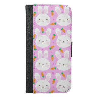 Cute cartoon bunnies and carrots on pink pattern iPhone 6/6s plus wallet case