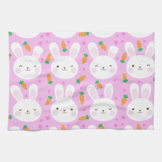 Cute cartoon bunnies and carrots on pink pattern kitchen towel