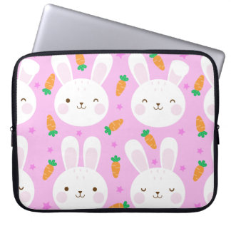 Cute cartoon bunnies and carrots on pink pattern laptop sleeve
